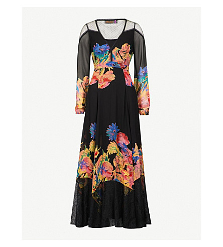 FREE PEOPLE Floral-print mesh maxi dress (Black+combo