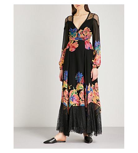 FREE PEOPLE Floral-print mesh maxi dress (Black+combo
