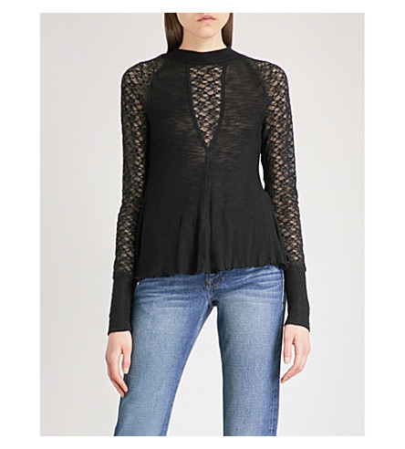 FREE PEOPLE No Limits embroidered-lace knitted top (Black