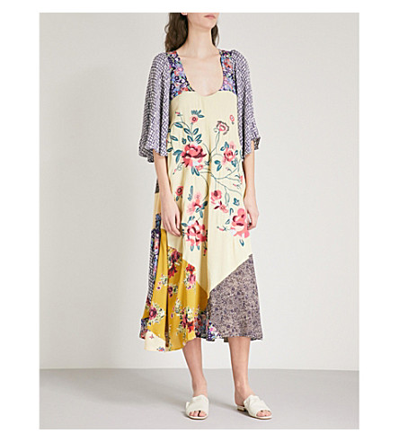 FREE PEOPLE River Market contrasting-panels woven dress (Blue+combo