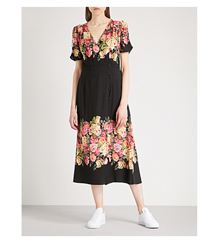 FREE PEOPLE Jamie floral-print crepe dress (Black