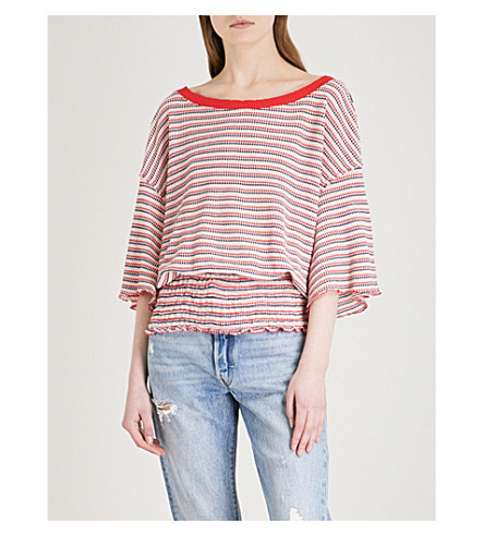 FREE PEOPLE Ebony striped knitted top (Red