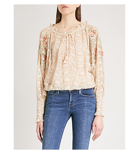 FREE PEOPLE Jubilee embroidered mesh top (Ivory
