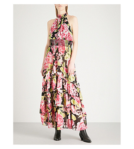 FREE PEOPLE In Full Bloom floral-print crepe-chiffon maxi dress (Black+combo