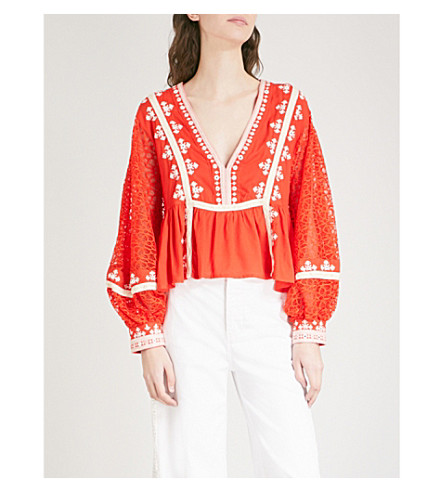 FREE PEOPLE Boogie All Night woven blouse (Red