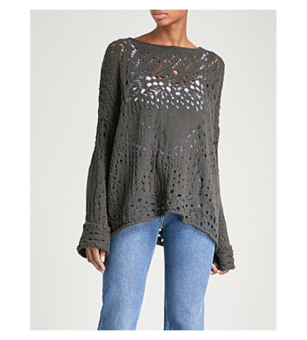 FREE PEOPLE Travelling Lace crocheted cotton jumper (Carbon