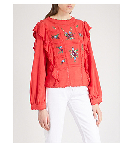 FREE PEOPLE Amy embroidered-floral woven top (Red