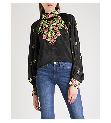 FREE PEOPLE Jessica embroidered-floral satin blouse (Black