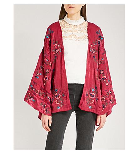 FREE PEOPLE Ariel embroidered satin kimono jacket (Raspberry