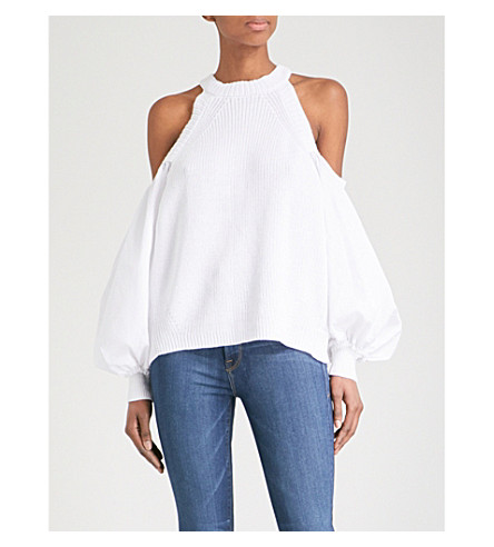 FREE PEOPLE Catch A Glimpse cold-shoulder cotton-blend top (White