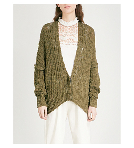 FREE PEOPLE Fun Times knitted cotton-blend cardigan (Moss