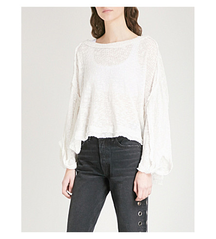 FREE PEOPLE Island Girl cotton jumper (White