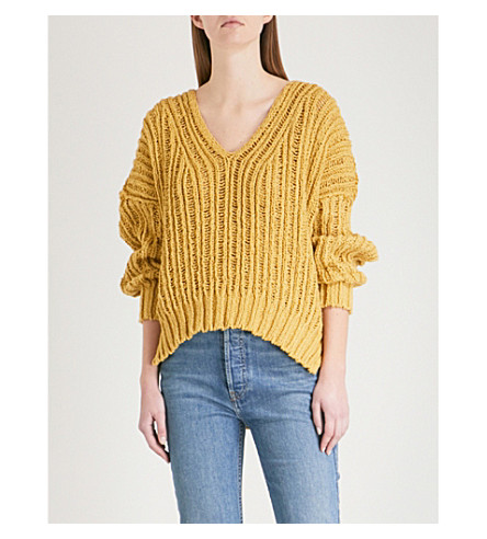 FREE PEOPLE Infinite V-neck knitted cotton jumper (Chartreuse