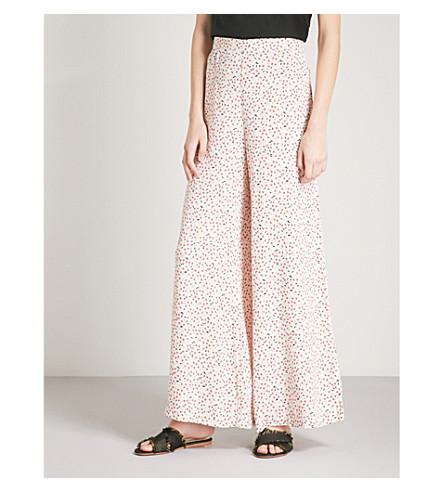 FREE PEOPLE Easy Peasy cherry-print crepe trousers (Ivory