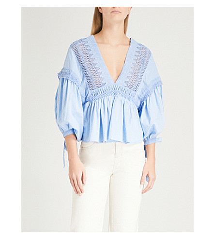 FREE PEOPLE Drive You Mad cotton blouse (Blue