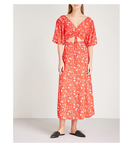 FREE PEOPLE Danni Jane crepe top and skirt co-ord (Red