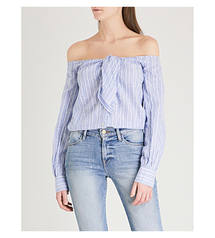 FREE PEOPLE Hello There Beautiful linen and cotton-blend top (Blue