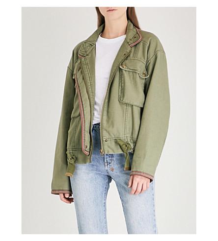 FREE PEOPLE Flight Line cotton bomber jacket (Moss