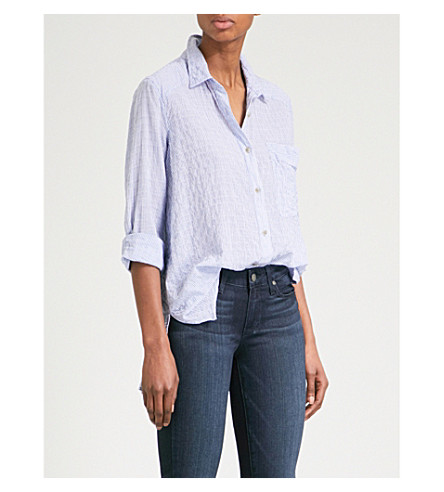 FREE PEOPLE No Limits cotton-blend shirt (Blue
