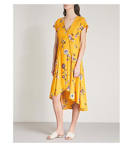 FREE PEOPLE Lost In You crepe midi dress (Yellow