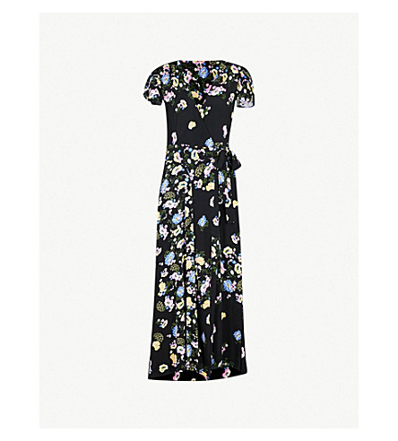 FREE PEOPLE Gorge Jess crepe wrap dress (Black+combo