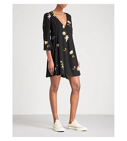 FREE PEOPLE Time On My Side floral-print crepe mini dress (Black+combo