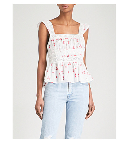 FREE PEOPLE Beautiful Fleurs embroidered woven cotton top (Ivory
