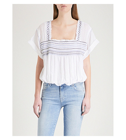 FREE PEOPLE Skies square-neck woven top (White