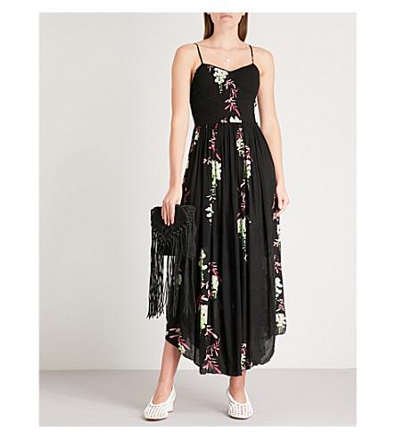 woven floral dress print midi Black combo Beau PEOPLE FREE IwqCAHz