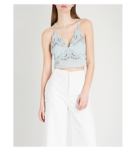 FREE PEOPLE Brami scalloped woven top (Mint