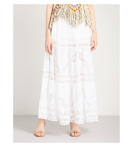 FREE PEOPLE Piece Of My Heart cotton and lace skirt (White