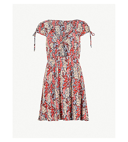 FREE PEOPLE Miss Right V-neck floral-print woven dress (Black