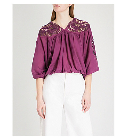 FREE PEOPLE Cutout-embroidered cotton-blend top (Purple