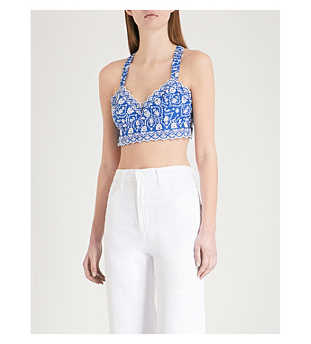 FREE PEOPLE Ezra scalloped embroidered cotton bralette (Blue