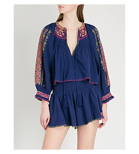 FREE PEOPLE Cherry Bomb embroidered cotton top and shorts co-ord (Blue