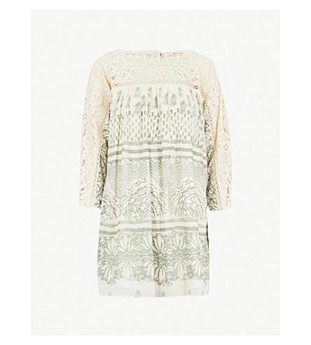 FREE PEOPLE Sun Daze lace-panelled printed cotton mini dress (Ivory