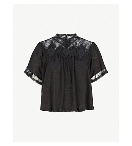 FREE PEOPLE Cape May lace-panelled ribbed linen and cotton-blend top (Black