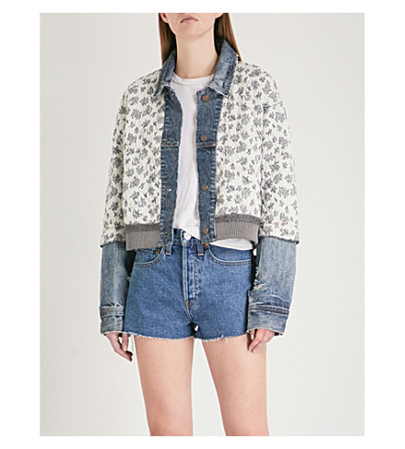 FREE PEOPLE Ditsy floral-print quilted cotton-blend denim jacket (Blue
