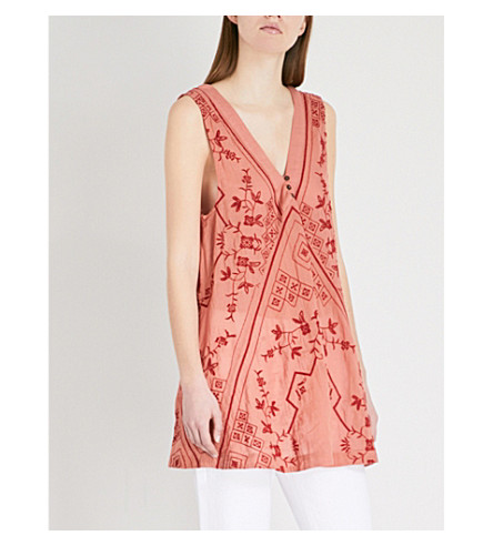 FREE PEOPLE Sweetest Shifty embroidered cotton top (Terracotta