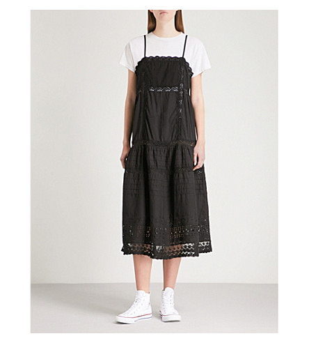 FREE PEOPLE This Is It embroidered cotton midi dress (Black