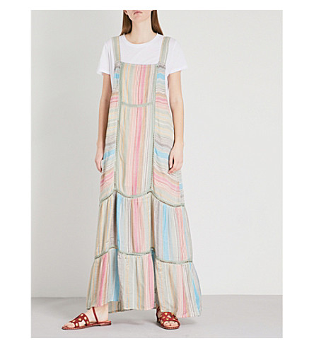 maxi FREE FREE striped dress Black PEOPLE cotton PEOPLE Anika panelled 0RqwO