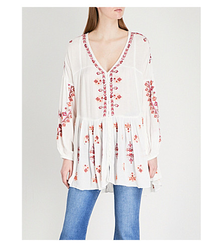 FREE PEOPLE Arianna embroidered woven top (Ivory