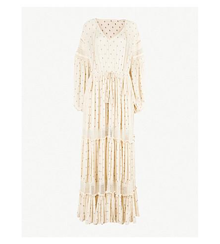 FREE PEOPLE Sada embroidered polka dot cotton tiered maxi dress (Ivory