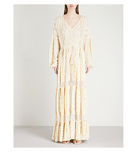 FREE PEOPLE Sada embroidered polka dot cotton tiered maxi dress (Ivory