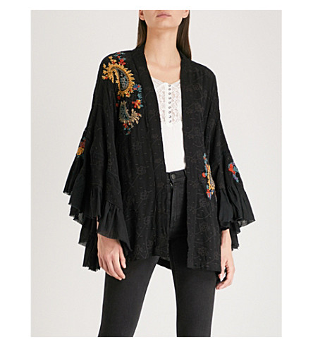 FREE PEOPLE Dottie fluted-sleeve embroidered woven kimono Black Lowest Price Cheap Wholesale Price Wholesale Price Clearance Pay With Visa Buy Cheap 100% Authentic fqJGe8