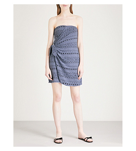 mezcla de azul algodón marino Oceanside Mini vestido de PERSONAS GRATIS q7vXYY