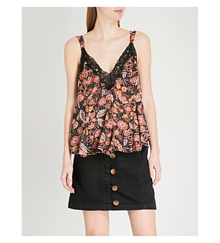 FREE PEOPLE Infinite Love floral-print woven top (Black+combo