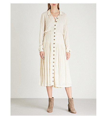 FREE PEOPLE Embroidered woven midi dress (Ivory