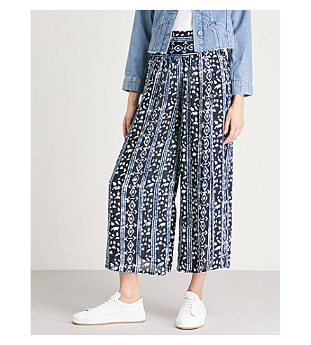 FREE PEOPLE Geometric-print woven skirt Navy Free Shipping Extremely Cheap Price Low Shipping Fee For Sale HkUI7m1fs