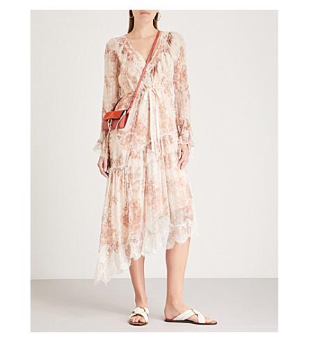FREE PEOPLE Eliza lace-trim chiffon dress (Neutral+combo
